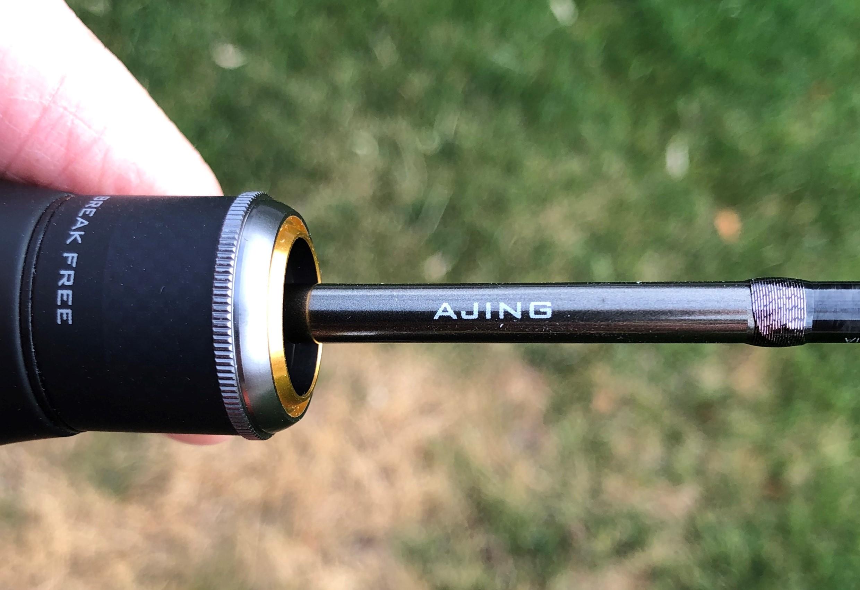 Shimano Soare CI4+ Ajing S408UL-S rod showing the word Ajing on the side of the rod