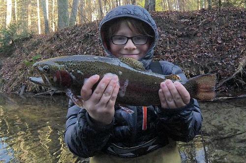 Nice rainbow trout caught with TenkaraBum 36.
