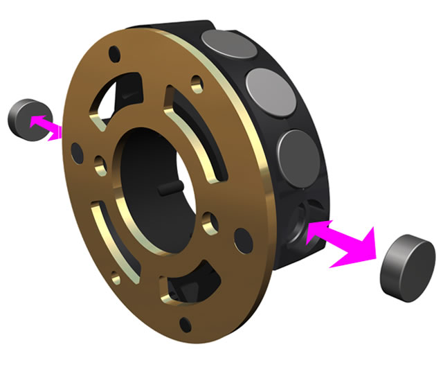 Illustration showing that two magnets can be added to the braking system
