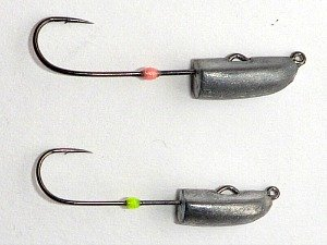 Jig heads with different weights have different hooks