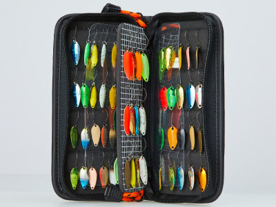 Daiwa Presso Lure Wallet (medium) opened to show that it holds many micro spoons.